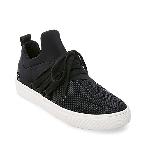 Steve Madden Women's Lancer Fashion Sneaker, Black, 8 M US