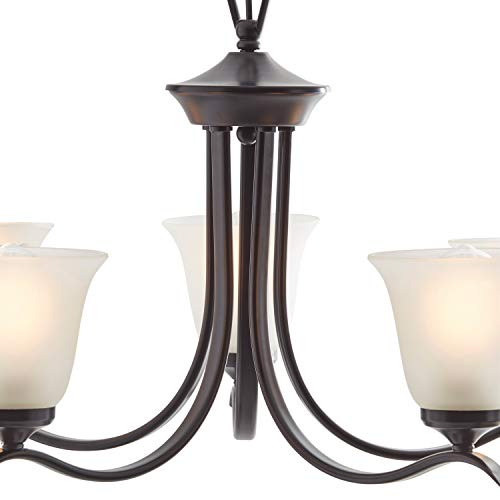 Amazon Brand – Ravenna Home Contemporary Modern Chandelier with 5 White Glass Light Shades - 26 x 26 x 40 Inches, Matte Black