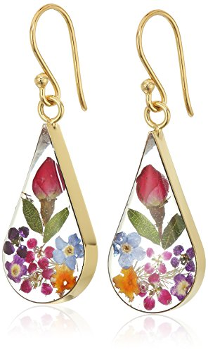 14k Gold Over Sterling Silver Multi Pressed Flower Teardrop Earrings (Colored Flower Dangle Earrings)
