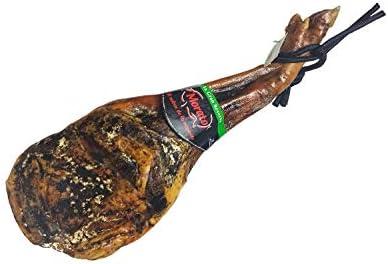 """Jamón Serrano (Paleta Gran Reserva) 4.5-5 kg """"Morato"""" + Chorizo Ibérico + Jamonero + Cuchillo. (Lote Gourmet Jamón curado y embutido de Extremadura)."""