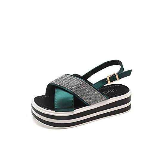 gamba con yalanshop Shoes suola spesso e estate green centrale sandali per fibbia piatta fondo donna Muffin punta UqwqCF