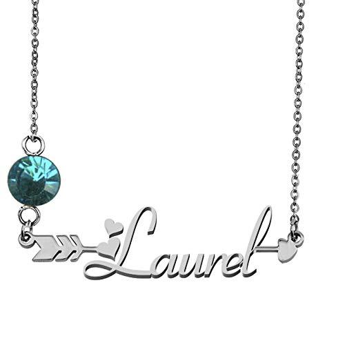 Tatum Autograph - GR859C Custom My Name Necklace Laurel Silver Arrow Pendant