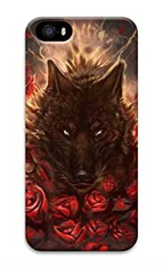 Rosesea Custom Personalized iPhone 5 Case, Personalized Custom Hard 3D Black Red Wolf Tatto Durable Case Cover for iPhone 5 5S
