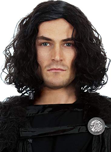 Jon Snow Costume (Northern Snow King Wig + Shield Pin. Short Black Curly Cosplay Wigs for Men Cosplay Halloween Mens)
