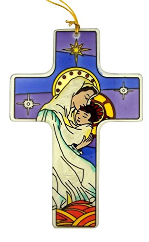 Stained Glass Virgin Mary with Child Nativity Cross Ornament, 6 1/4 Inch by Religious Gifts