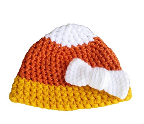 Crochet Candy Corn Hat With Bow (newborn to adult) -
