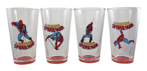 Set Of 4 Amazing Spider-Man Pint Tumbler Glasses 16 - Glasses Amazing Man Spider