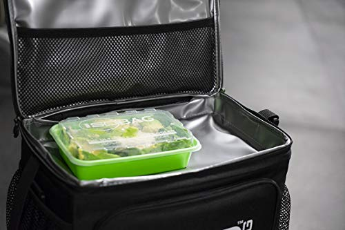 Isolator Fitness 6 Meal ISOCUBE Meal Prep Management Insulated Lunch Bag Cooler with 12 Stackable Meal Prep Containers, 3 ISOBRICKS, and Shoulder Strap - MADE IN USA (Blackout) by Isolator Fitness (Image #8)