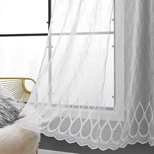Taisier Home Splicing Embroidered Curtains Geometric Lattice Design Faux Linen 84 Inches Long for Bedroom, Kids or Living Room, 2 Panels, Ring Top Style White Moroccan Tile Sheer Curtains