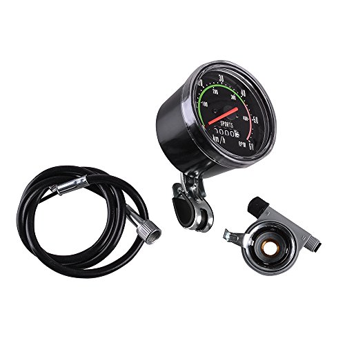 AGPtekNew Analog Speedometer Resettable odometer Classic Style for Exercycle & Bike
