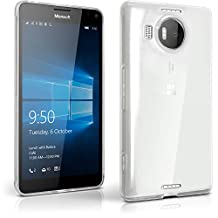 iGadgitz Transparent Clear Glossy TPU Gel Skin Case Cover for Microsoft Lumia 950 XL + Screen Protector