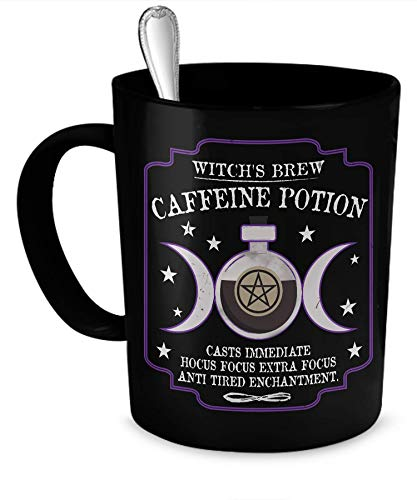 Master Cups Witch's Brew Caffeine Potion Cofee Mug (Black, 11oz) – Perfect Mug to Serve a Witch her Coffee with…