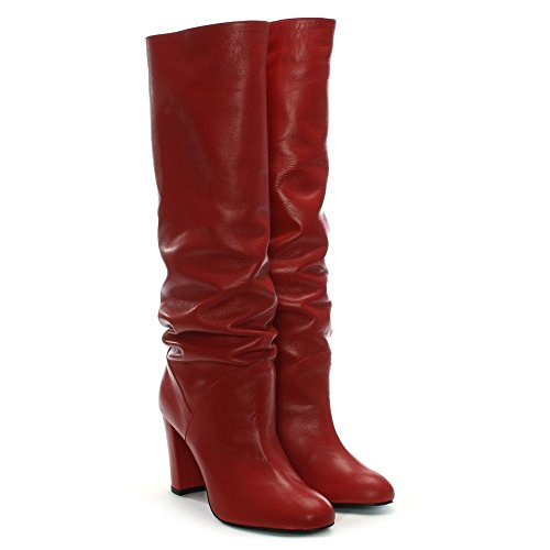 Daniel Atube Red Leather Rouched Knee Boots Red Leather