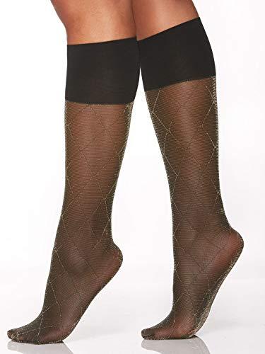 Berkshire Women's Comfy Cuff Stay-Put Diamond Lurex Trouser Knee High Socks, Black/Gold, Regular Size