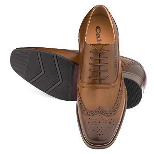 G-CALTO 60101-(3 7,62 cm, altezza Inches)-Tappetto aumentare ascensore Scarpe con lacci, colore: marrone scuro, Wing-tip)
