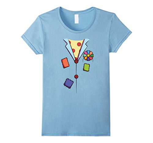 Circus Outfit Ideas (Womens Clown Costume T-Shirt for Halloween Circus Clown Cosplay Tee Medium Baby Blue)