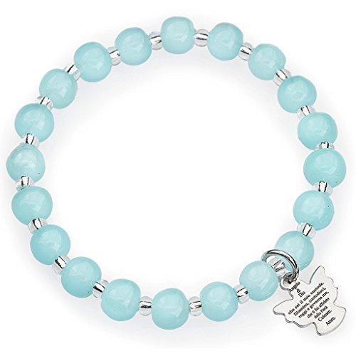 Amen bracelet for children, Murano beads, aquamarine sterling si (Bracelets Aqua Murano)