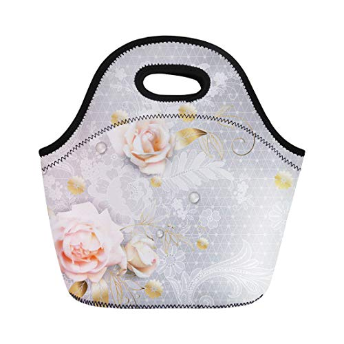 Semtomn Lunch Tote Bag Flower White Roses Belgian Lace Victorian Beautiful Bouquet Bud Reusable Neoprene Insulated Thermal Outdoor Picnic Lunchbox for Men Women