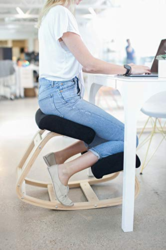 Sleekform Kneeling Chair | Rocking Ergonomic Wooden Knee Stool for Office & Home | Posture Correcting for Bad Backs, Neck Pain Relieving, Spine Tension Relief | Orthopedic Balancing Seat & Thick Knees