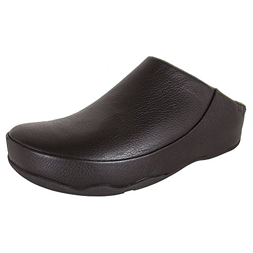 FitFlop Mens Gogh Moc Slip On Leather Clog Shoes, Black, US 13