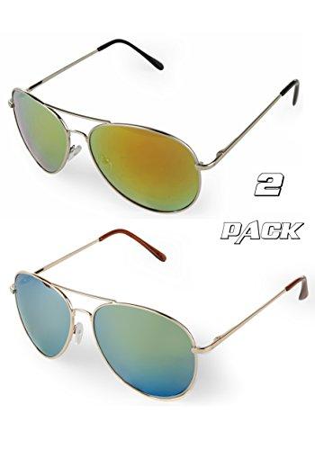 E&H Classic Designer Aviator Sunglasses Military Style Metal Frame Unisex Full Mirrored Lens, 100% UV Protection, (Gree + Orange-Green, 2 PACK)
