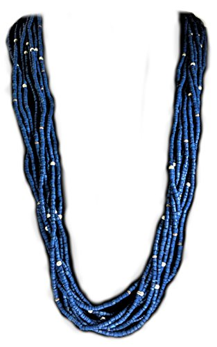 Gift Boxed   Coldwater Creek Blue Wood Bead Necklace With Silver Accents