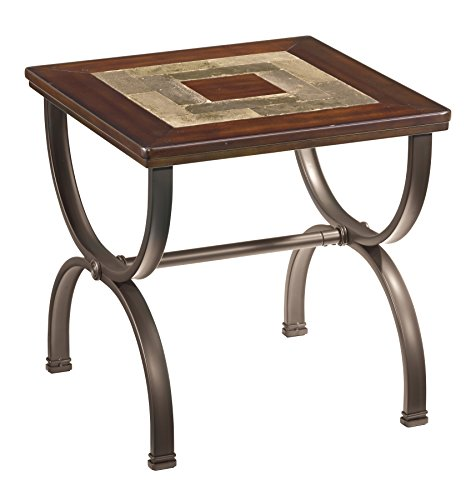 Ashley Furniture Signature Design - Zander Chair Side End Table - Contemporary Style Accent Table - Medium Brown with Mosaic Top