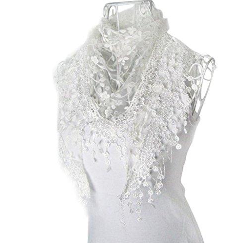 Blackobe Fashion Lace Tassel Sheer Burntout Floral Print Triangle Mantilla Scarf Shawl (White Lace)