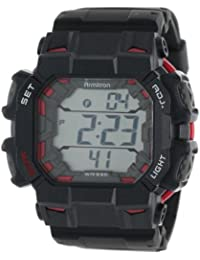Men's 40/8298BLK Metallic Red Accented Black Resin Strap Chronograph Digital Watch