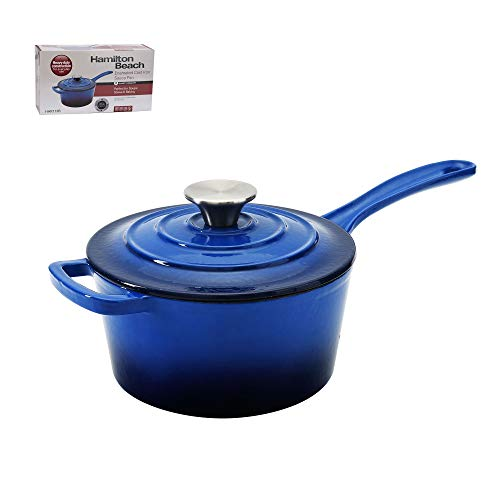 Hamilton Beach 2 Quart Enameled Coated Cast Iron Round Sauce Pan with Lid, Blue