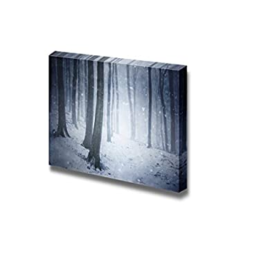 Winter Snow Storm in a Forest with Wind Blowing The Snowflakes Through The Trees - Canvas Art Wall Art - 12