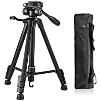 Eocean 60-Inch Professional Camera Tripod, Aluminum Camera Tripod for DSLR, Canon, Nikon, Sony, Olympus, Samsung, Panasonic, Pentax, Pro DV Video Cameras Camcorders with Carrying Case