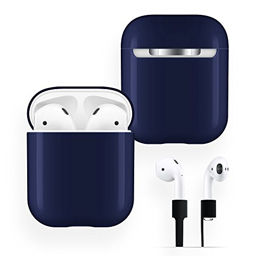AirPods Case Protective, FRTMA Hard PC [No Collect Dust] Cover and Case for Apple AirPods with Anti-Lost Strap for AirPods Accessories (Midnight Blue)