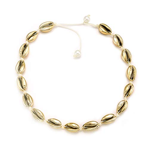 (HSWE Natural Cowrie Shell Choker Necklace Gold-Plated Sea Shell Necklace Adjustable Cowry Charms Gilded Beaded Cord Rope Hemp Necklace Handmade Boho Beach Summer Jewelry)