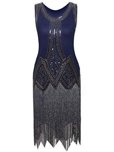 Vijiv Women 1920s V Neck Flapper Dress Beaded Drop Waist Great Gatsby Dress