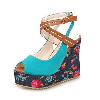 LvYuan Mujer-Tacón Cuña-Otro Zapatos del club Confort Innovador-Sandalias-Boda Fiesta y Noche Vestido-Materiales Personalizados Semicuero-Negro Black