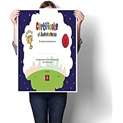 "smllmoonDecor Living Room Home Office Decorations Kids Diploma or Certificate of Awesomeness Template Cartoon Style Background Decorative Fine Art Canvas Print Poster K 20"" x L 28"""