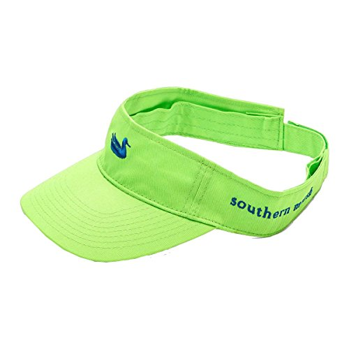 - Southern Marsh Cotton Twill Visor With Navy Duck Logo, Neon Green
