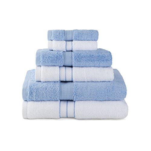 Superior 900 Gram Luxurious, Soft & Absorbent 100% Premium Long-Staple Combed Cotton 6 Piece Towel Set, White & Light Blue