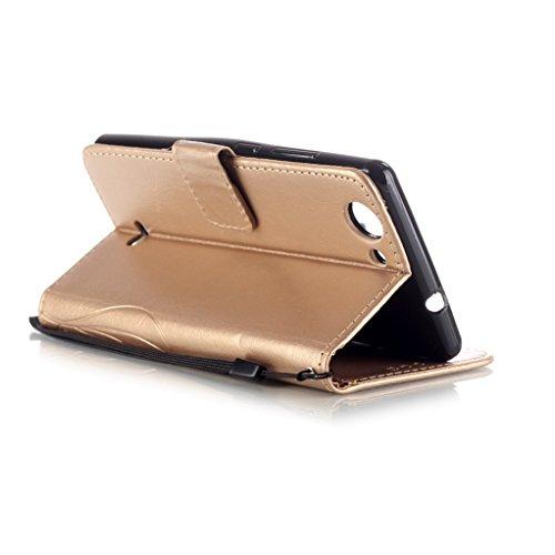 Trumpshop Smartphone Carcasa Funda Protección para Wiko Sunset 2 (Serie Diamante) + Rosado + PU Cuero Caja Protector con Cierre Magnético la Ranura la Tarjeta Choque Absorción Oro