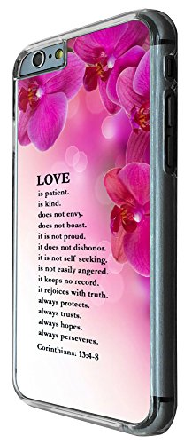 442 - Shabby Chic Floral Christian Quote Love is patient is kind always trusts Design iphone 6 6S 4.7'' Coque Fashion Trend Case Coque Protection Cover plastique et métal