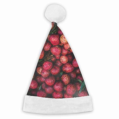 Santa Hat,Lychees Fruits Berries Unisex Velvet Fabric Christmas Hat with Comfort Lining&Plush Brim