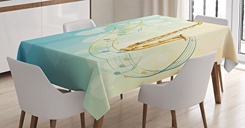 """Ambesonne Music Tablecloth, Colorful Music Notes Vibes from Saxophone Jazz Background Illustration Artwork Print, Rectangular Table Cover for Dining Room Kitchen Decor, 60"""" X 84"""", Pale Yellow"""