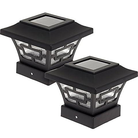 Westinghouse Hilltop 20 Lumens Solar Fence Post Cap Lights (Black, 2 Pack)