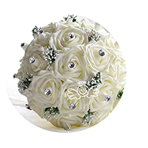 TaeHyung in Stock Gorgeous Handmade Wedding Flowers White Bridesmaid Bridal Bouquets Artificial Rose Wedding Bouquet Fe01,Cream 105