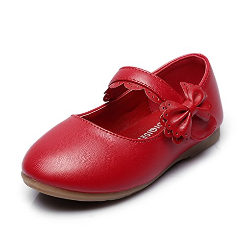 Maxu Girls Mary Jane Bow Velcro Strap Ballerina Flat,Red,Little (Girls Red Mary Jane Shoes)