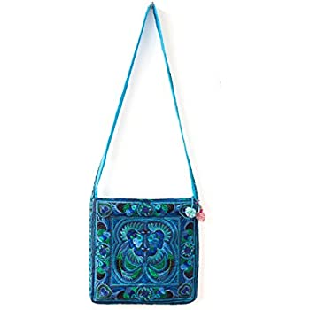 Changnoi Ethnic Bag Blue Birds Hmong Purse Hill Tribe Cross-Over Embroidered  Thai Fair Trade 7ad59a6b041fd