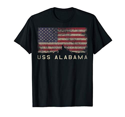 (USS Alabama BB-60 Battleship T-Shirt Gift USA Flag Tee)