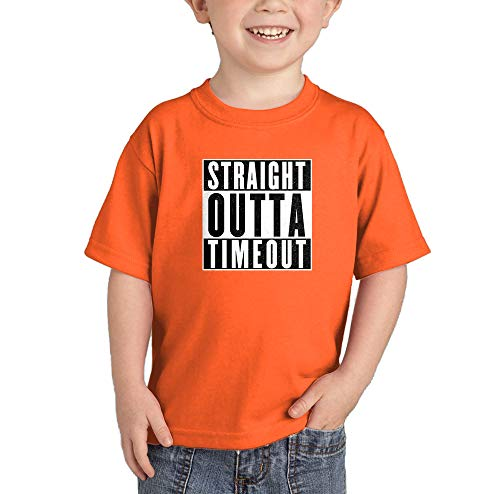HAASE UNLIMITED Straight Outta Timeout - Trouble Maker Infant/Toddler Cotton Jersey T-Shirt (Orange, 5T)