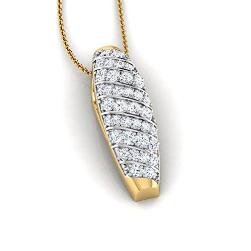 14K Or blanc 0,21CT TW Round-cut-diamond (IJ | SI) Pendentif